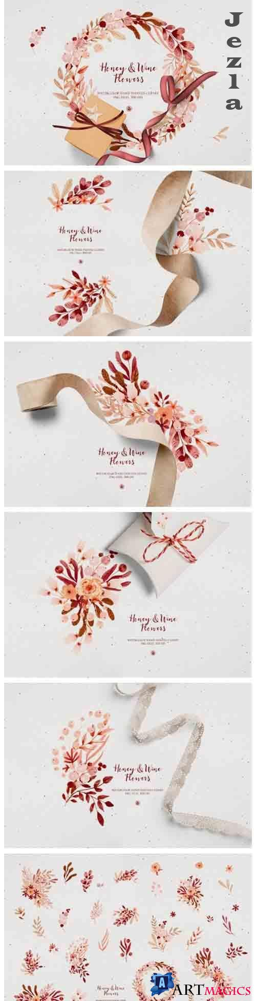Honey & Wine Flowers watercolor set - 5639682