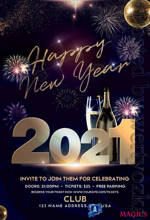 Happy New Year 2021 PSD Flyer Template