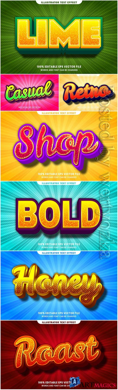 3d editable text style effect vector vol 28
