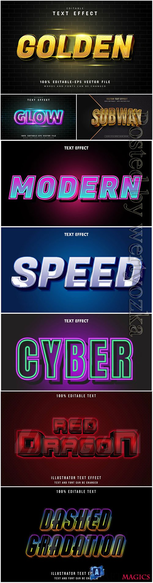 3d editable text style effect vector vol 25