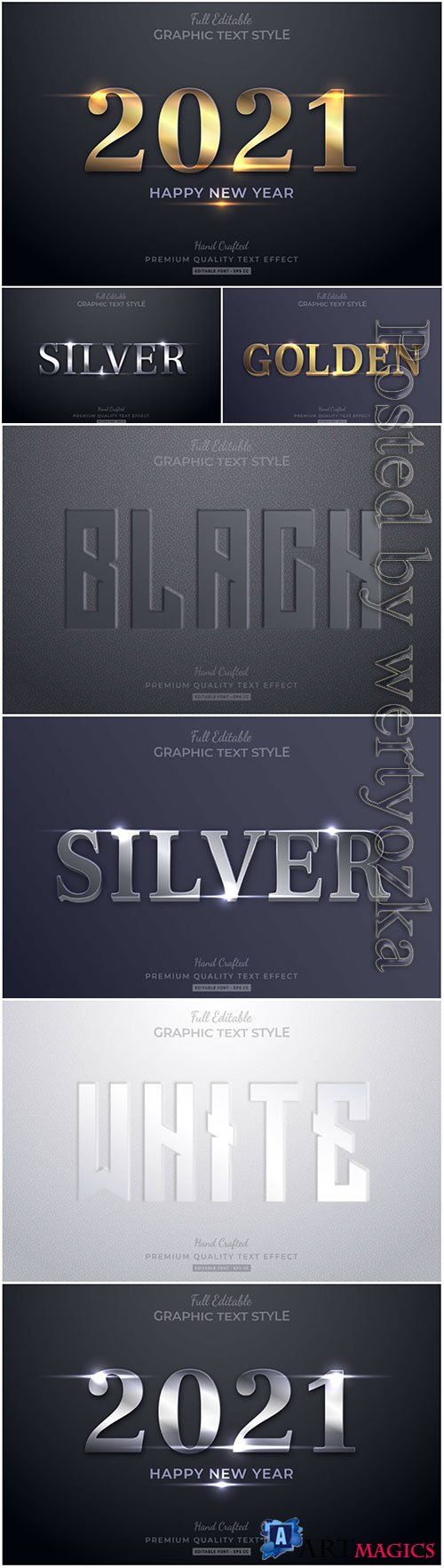 3d editable text style effect vector vol 22