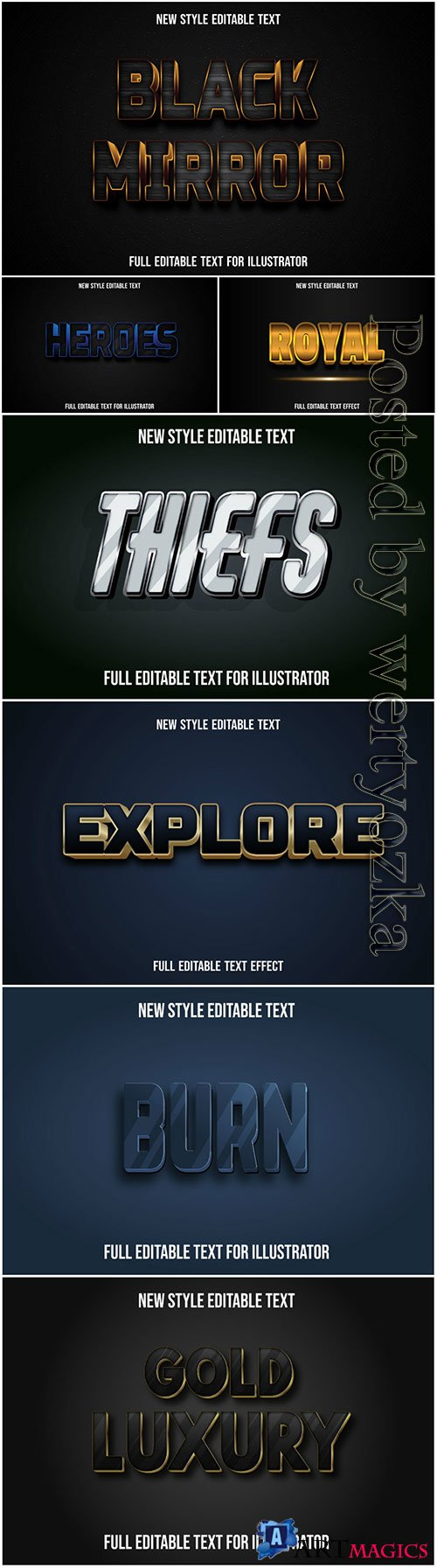 3d editable text style effect vector vol 23