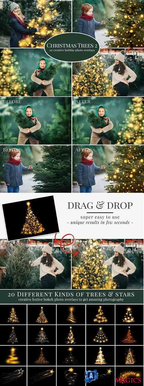 CreativeMarket - Christmas Trees photo overlays 5636334