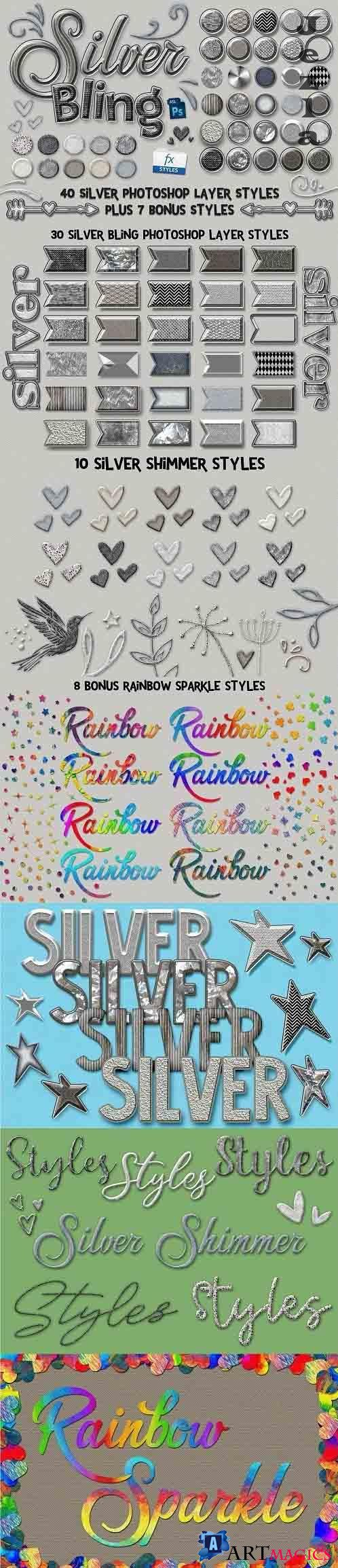 CreativeMarket - Silver Bling Photoshop Layer Styles 5115002