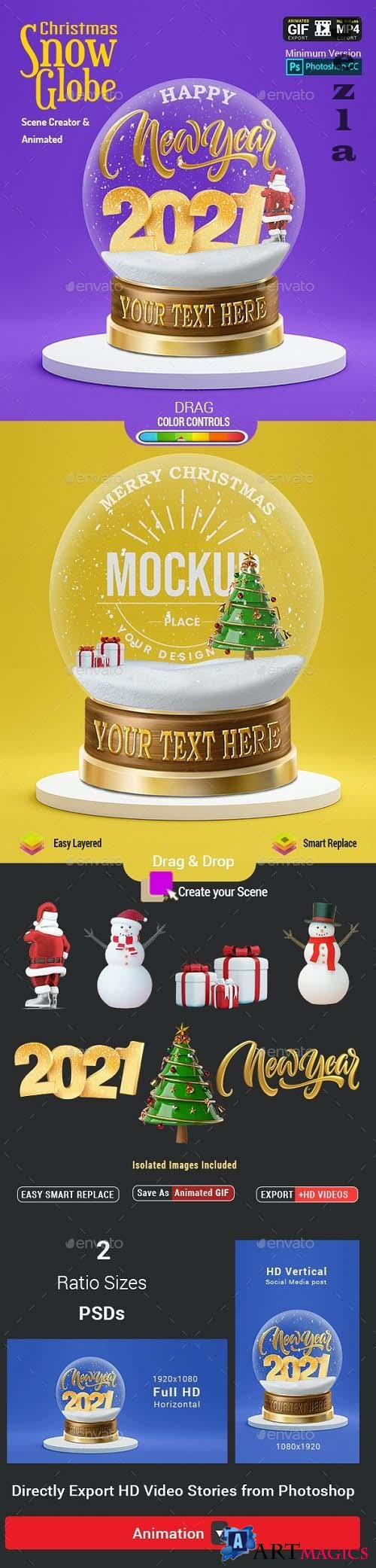 GraphicRiver - Christmas Snow Globe - Animated Scene Creator Mockup 29509413