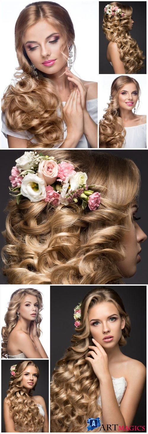 Girl with evening hairstyle, bride stock photo