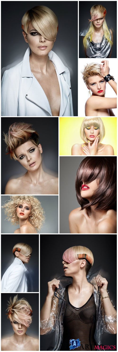 Fashion women hairstyles stock photo