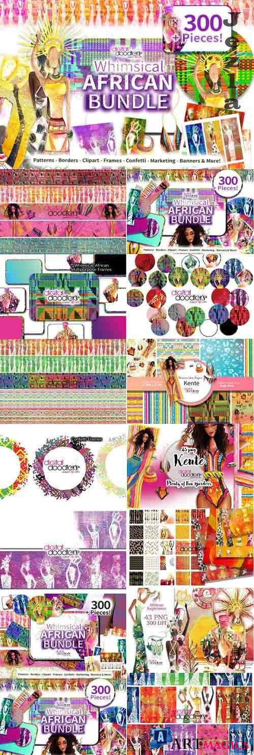 Whimsical Watercolor African Bundle