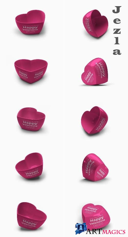 Valentine Love Heart Container Mockup Without Lid Bundle