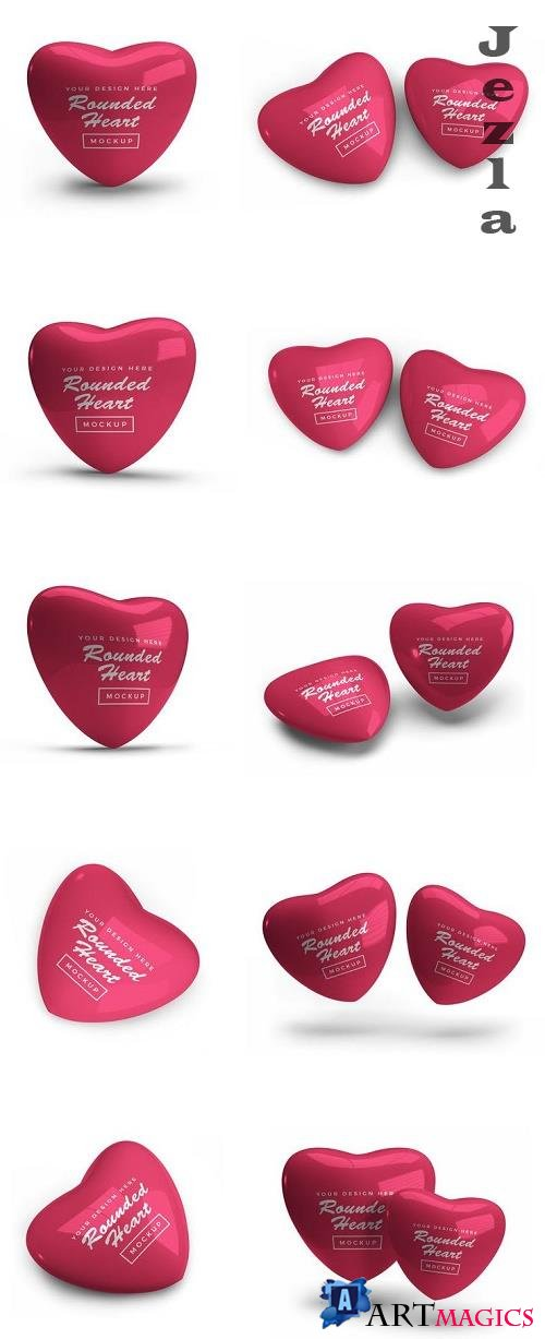 Rounded Valentine Heart Mockup Template