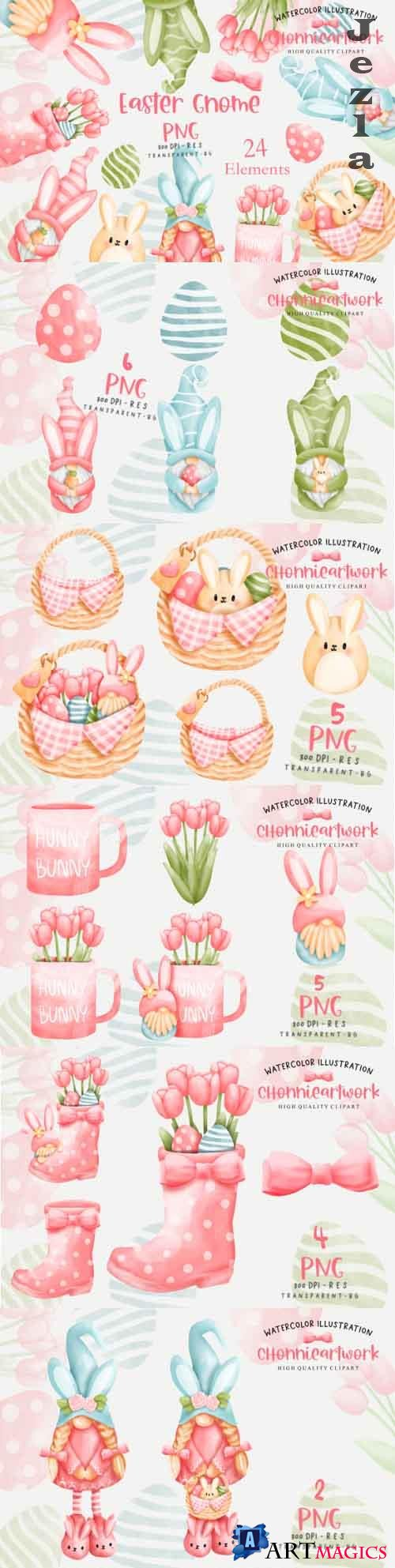 Easter Day with Gnome Clipart Bundle