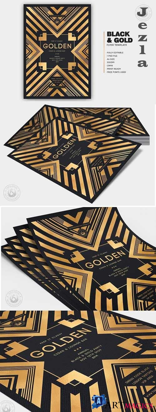 Black and Gold Flyer Template V22 - 5878144