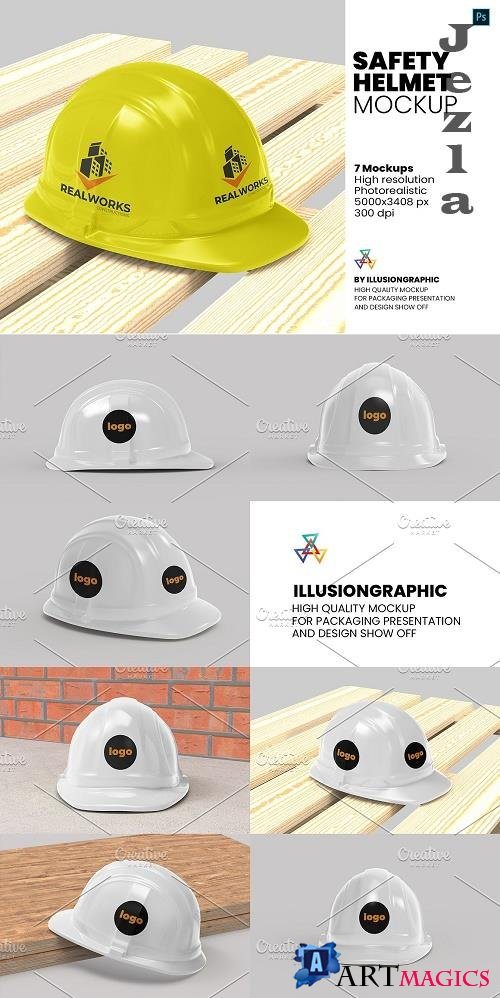 Safety Helmet Mockup - 7 views - 5886070