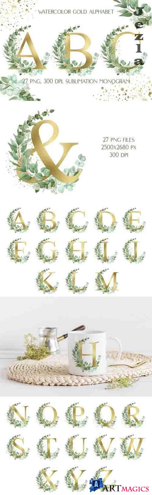 Sublimation Gold Alphabet | Eucalyptus Monogram Clip Art - 1238707