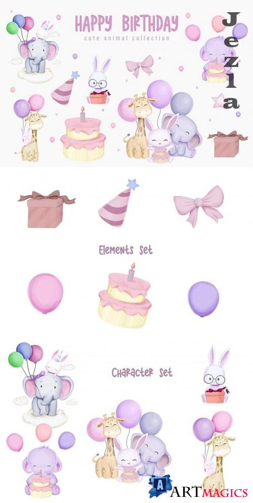 Animal Brithday Character Set