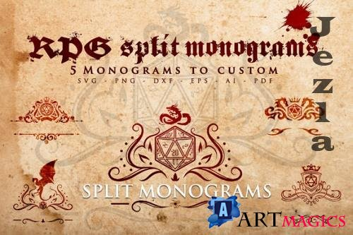 RPG - 5 Split Monograms to Custom SVG