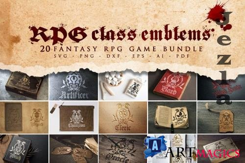 20 RPG Class Emblems Bundle SVG