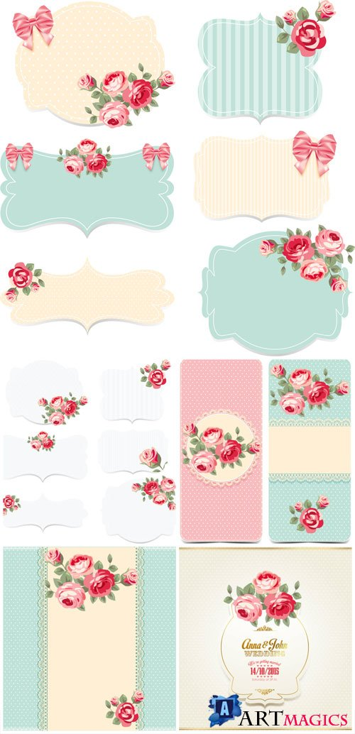 Backgrounds and elements with flowers for wedding invitations in vector